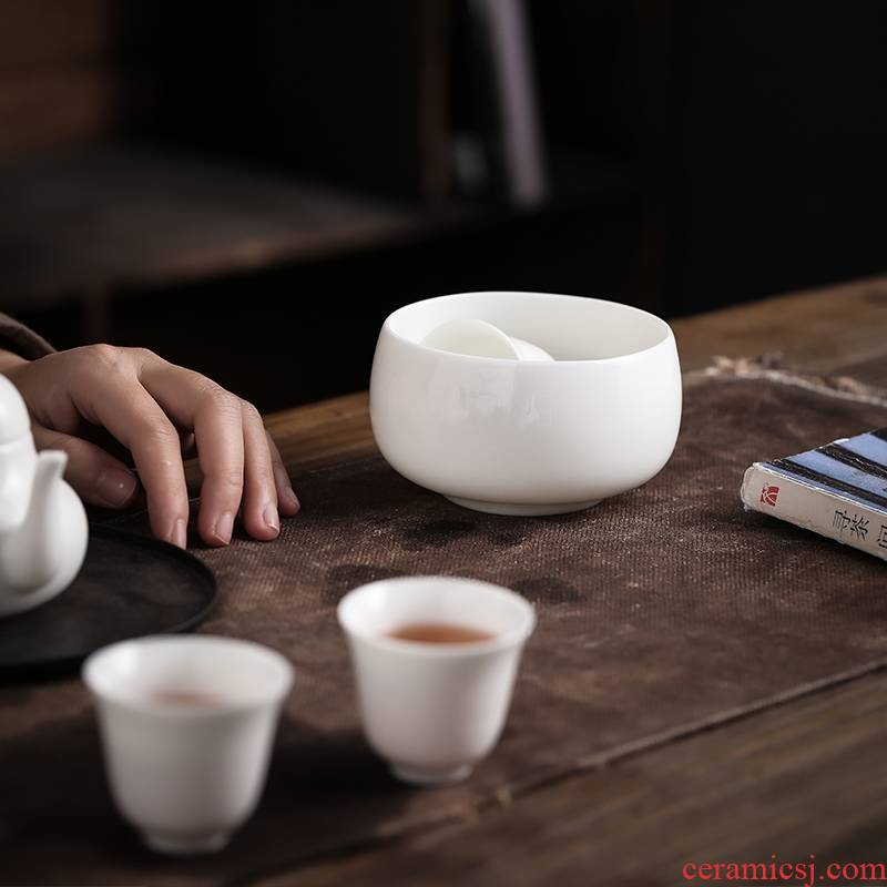 Dehua suet jade white porcelain small ceramic single cup of tea to wash to wash cup contracted water jar kung fu tea tea accessories