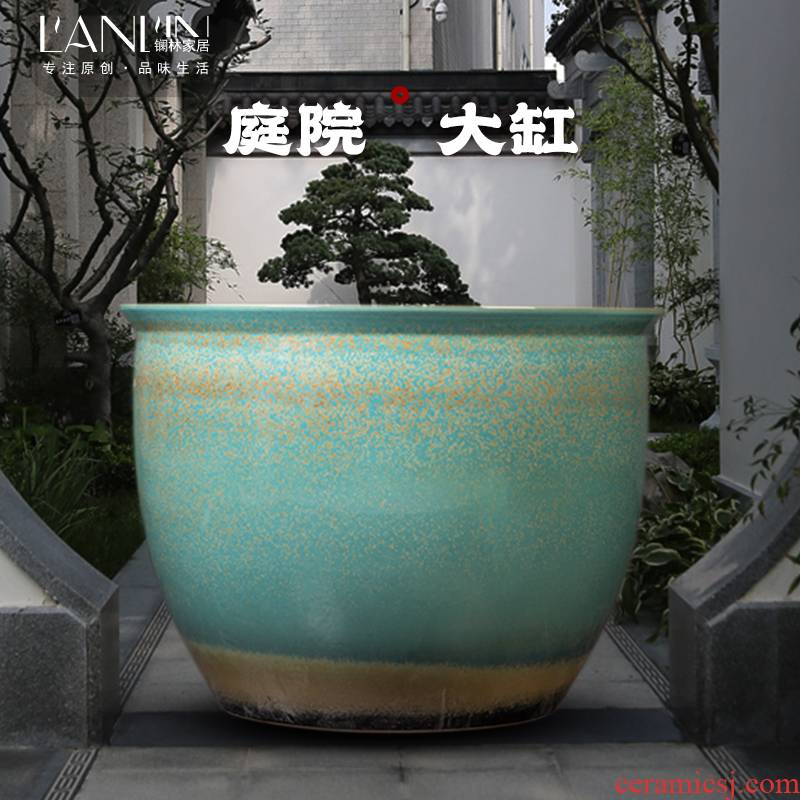 Courtyard of large cylinder jingdezhen ceramic decorative furnishing articles fish farming water lily lotus plant trees old restoring ancient ways round flower pot