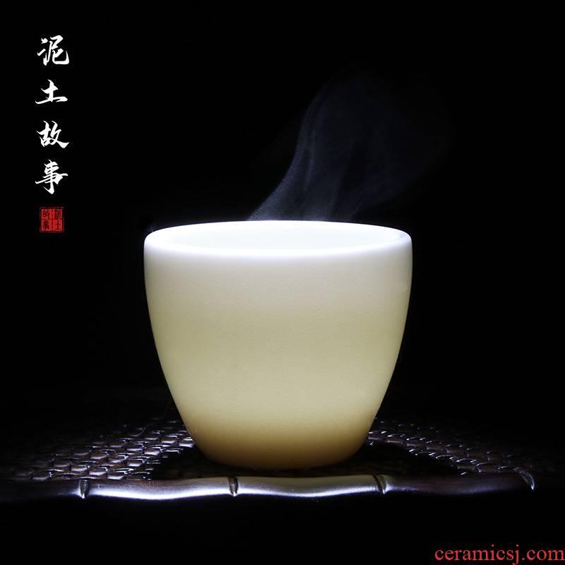 DE jade jade, jade white ceramic kung fu tea cups sample tea cup single CPU porcelain ceramic cups tea cup by hand
