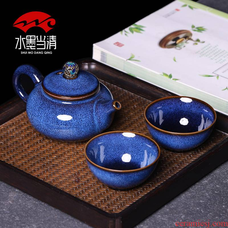 Ceramic pot a pot of both two cups of tea set suit small household set of Japanese kung fu tea cups office gift boxes