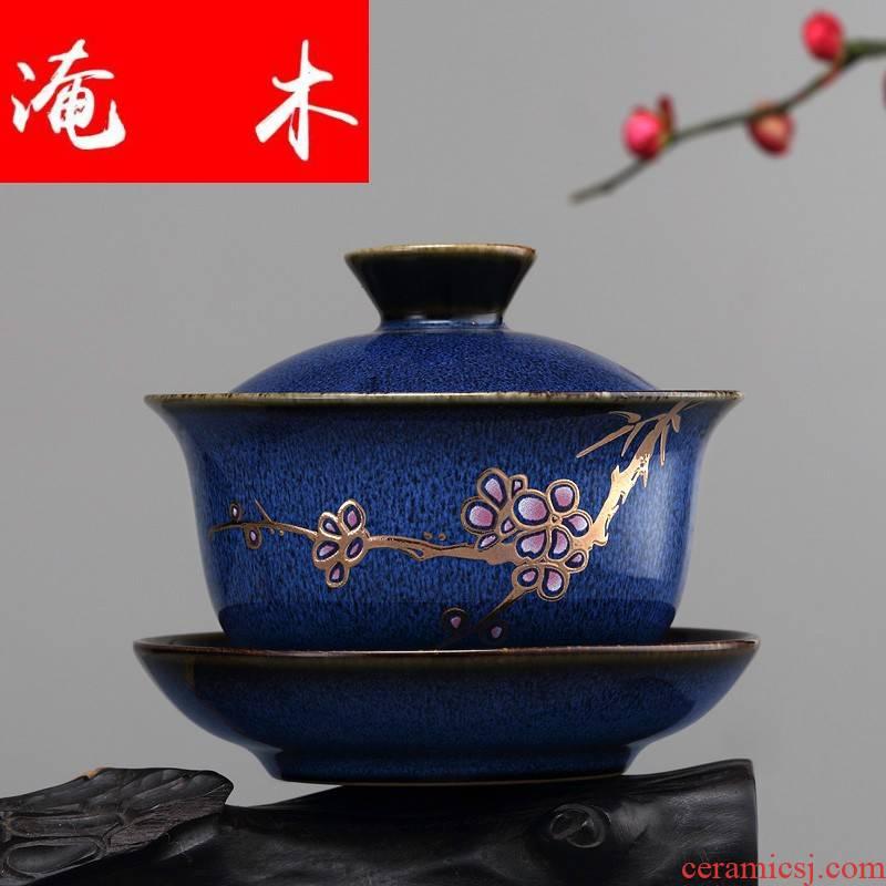 Flooded three ancient wood FengZi ceramic cups porcelain tureen lid cup kunfu tea cover cup tea kungfu tea set
