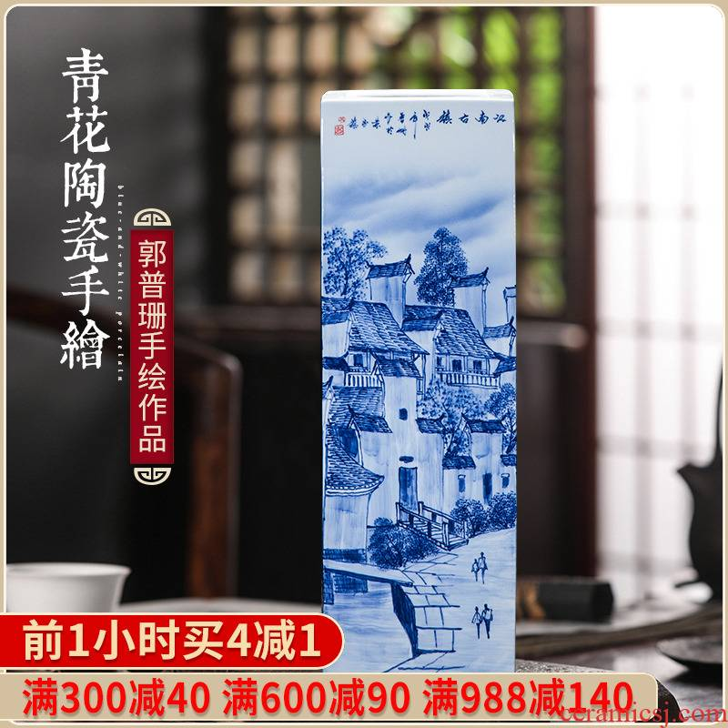 The Master of jingdezhen ceramics hand - made quiver jiangnan town blue and white porcelain vase painting and calligraphy calligraphy and painting study furnishing articles