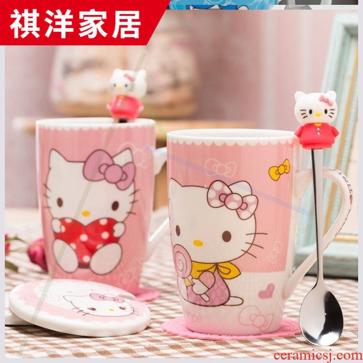 Hello Hello Kitty cartoon KT cat mark cup white ceramic cup creative couples with cover glass