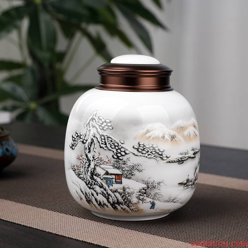 125 grams of maojian tea ceramic tea pot seal moisture storage maofeng tea POTS jingdezhen porcelain tea boxes