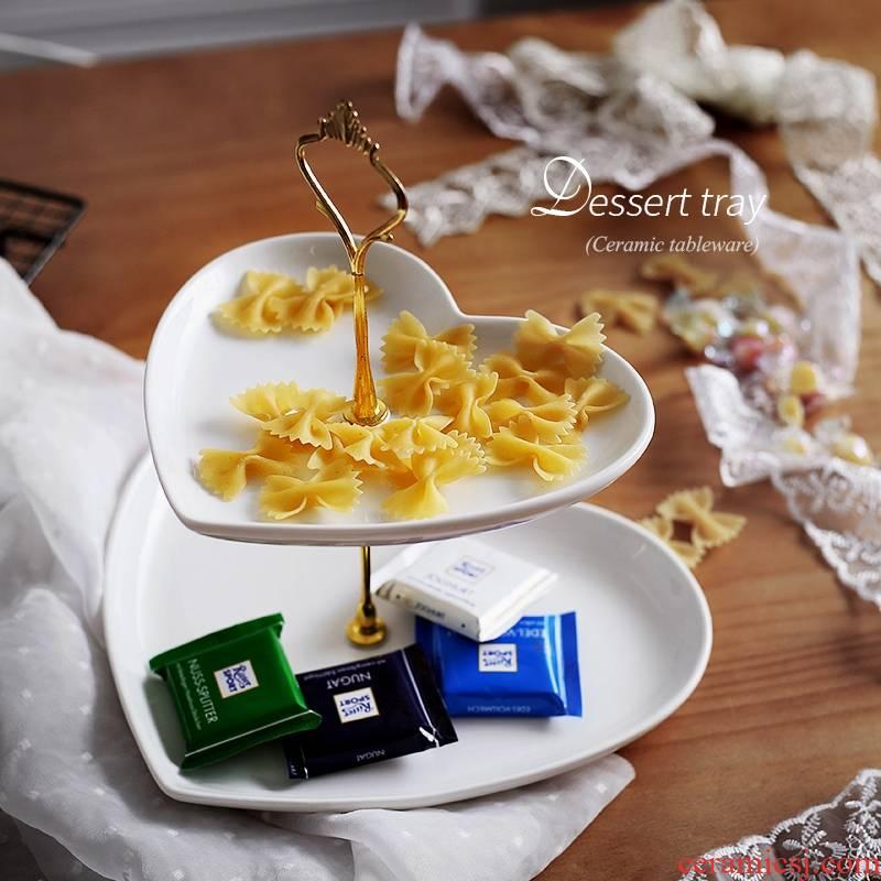 Qiao mu ZCJ ceramic fruit bowl three layer cake home sitting room frame Europe type dry fruit tray afternoon tea sweet heart