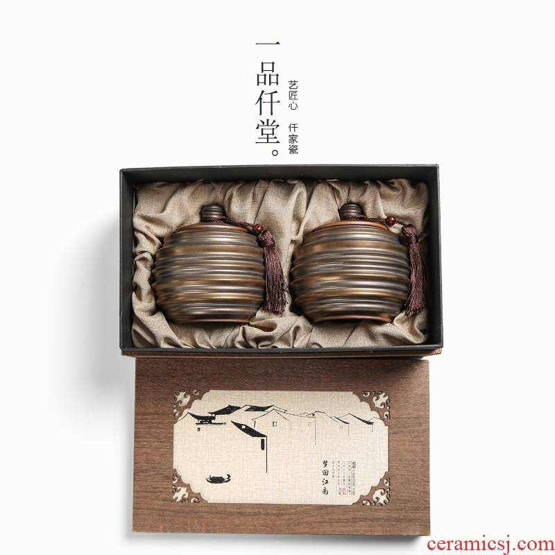 Shadow enjoy vintage caddy fixings ceramic seal coarse pottery kung fu tea POTS of tea packaging gift box YPQ
