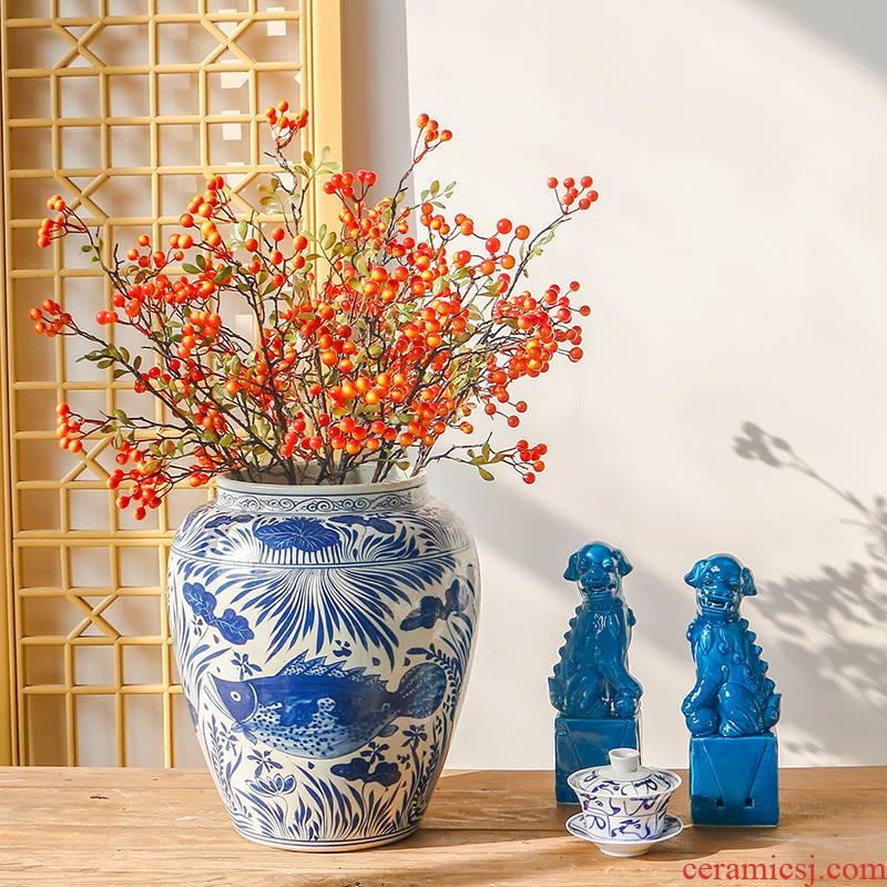 Jingdezhen antique Chinese style living room a study between example hand - made ceramic mackerel algae big home decoration vase