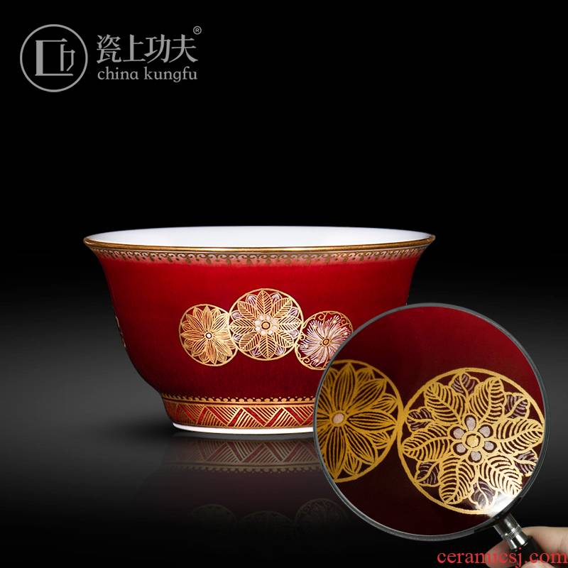 Jingdezhen ceramic kung fu tea set teacups hand - made of ruby red see colour ball flower master cup single cup sample tea cup bowl