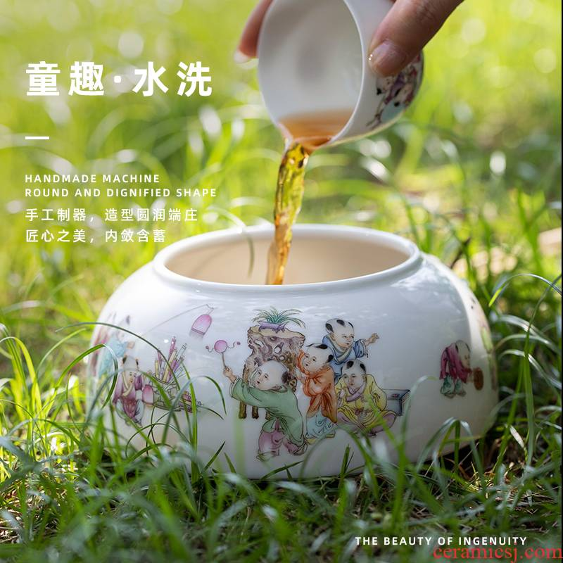 Wash to tong qu jingdezhen ceramic tea in hot water jar is large pure manual painting kung fu tea accessories