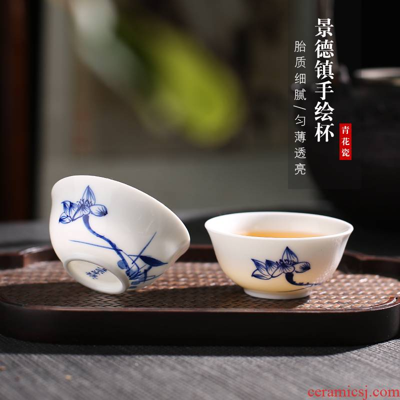 . Poly real scene kung fu small jingdezhen ceramic cups hand - made thin foetus only tea tea tea set blue and white porcelain