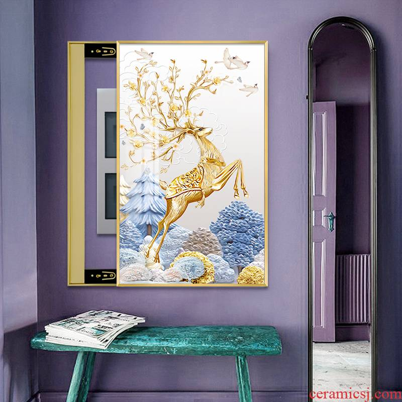 Adornment meter box to run large size vertical type light key-2 luxury crystal porcelain painting I and contracted household porch distribution box