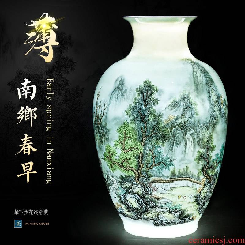 The Master of jingdezhen ceramics hand - made eggshell porcelain vase landscape painting new Chinese flower arranging rich ancient frame is placed in the living room