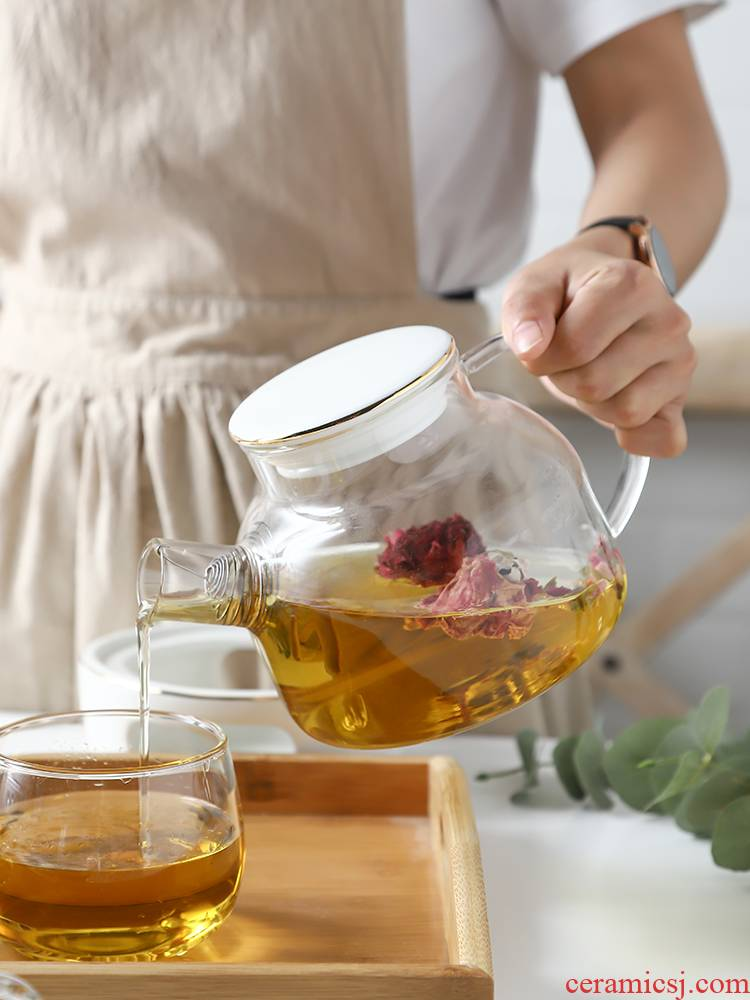 The Nordic idea ceramic heat The teapot set transparent glass based heating afternoon tea tea teapot