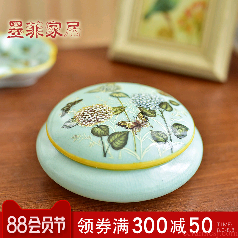 New Chinese style creative furnishing articles ceramic store content box jewelry box American country sitting room bedroom soft adornment ornament