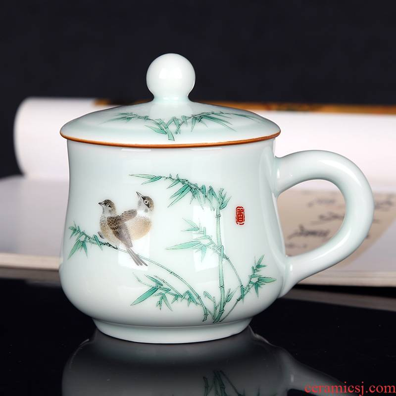 Jingdezhen ceramic cups with cover celadon porcelain single cup small household glass office personal cup tea set