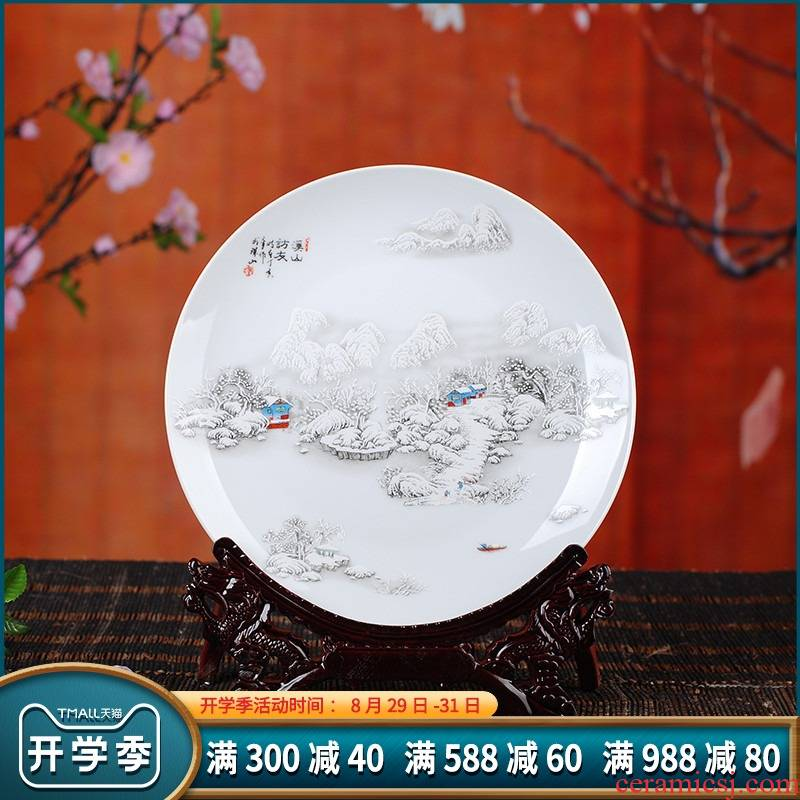 Hang dish decorative plate of jingdezhen blue and white porcelain ceramic famille rose decoration fashion household handicraft furnishing articles