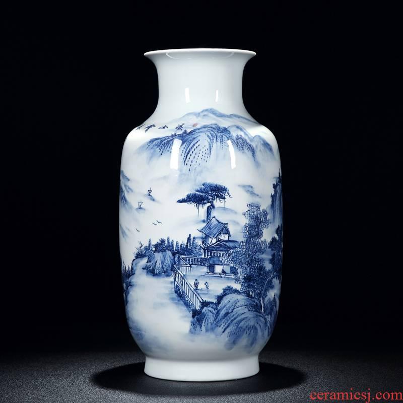 Intangible craftsmen shot loose guo - hua liu qin blue - and - white hand - made works landscape jingdezhen ceramic vases, furnishing articles