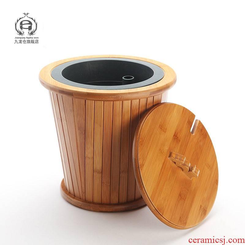 Jingdezhen tea barrel dross barrel trash can row of kung fu tea set solid wood accessories bucket tea detong below pipe
