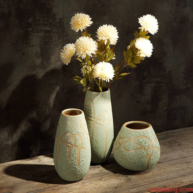 Retro ceramic green floret bottle of American rural living room desktop creative furnishing articles into the dried flower POTS coarse pottery