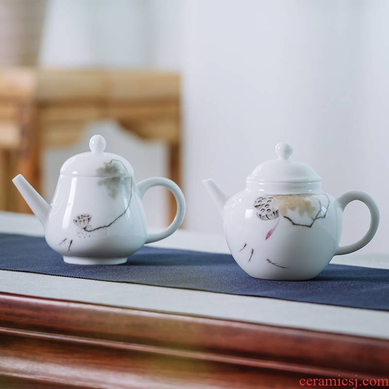 Pure hand draw lotus tea one single mini teapot for a single small white porcelain handle hand grasp pot of jingdezhen
