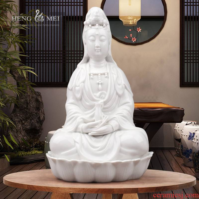 New guanyin bodhisattva Buddhism appliances white ceramic furnishing articles of Buddha enshrined lotus TuoPing to worship goddess of mercy