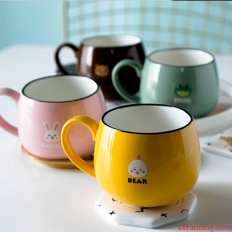Northern wind, lovely ceramic keller cup children cartoon lovers students creative ultimately responds cup of milk coffee cup