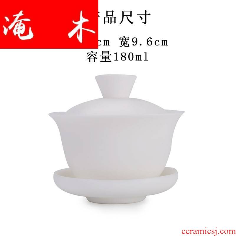 Submerged wood top - grade biscuit firing dehua white porcelain only three tureen ceramic cups household kung fu tea pure manual teapot