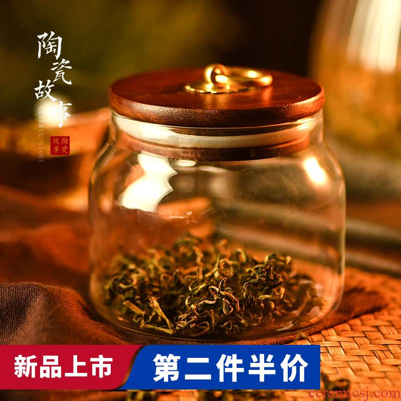 Ceramic seal pot acacia wood cover story glass tea tea accessories pu 'er household moisture storage tanks