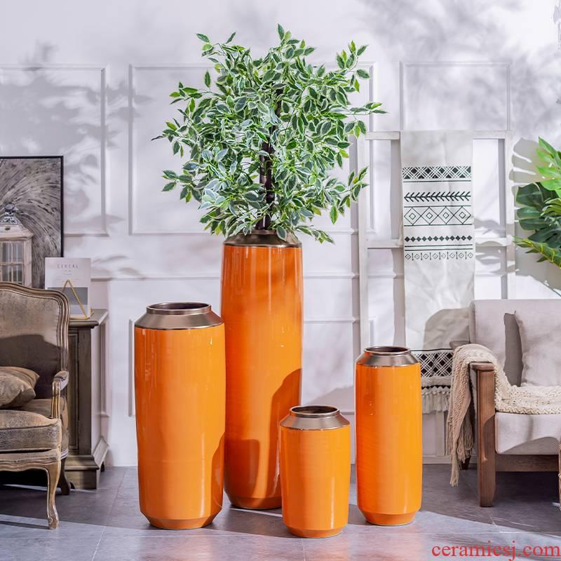Ground light ceramic vase key-2 luxury furnishing articles contracted and I sitting room dry flower arranging flowers decorative porcelain hotel villa decoration