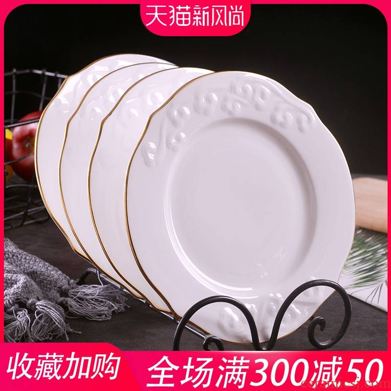 Jingdezhen manual gold 】 【 8 inches anaglyph xiangyun household creative western food plate dessert plate ipads China plates