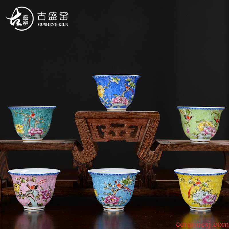 The ancient see colour niaoyuhuaxiang yulan sheng up pick flowers cup sample tea cup personal creative teacups glass ceramic kung fu master