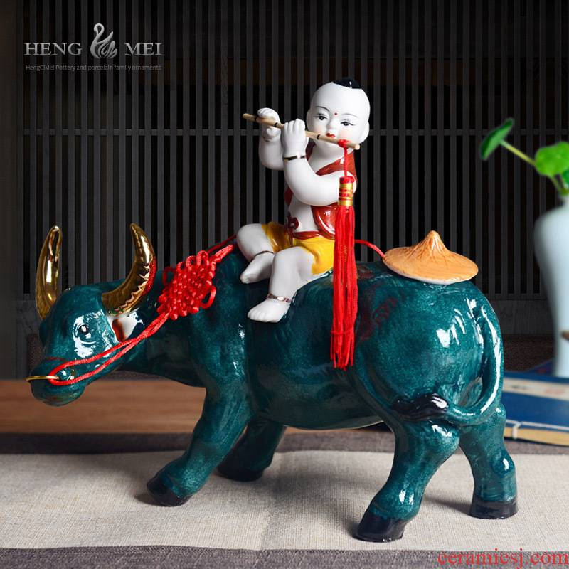 The sitting room adornment is placed cowboy ride cow wine ark of jingdezhen ceramics art decoration of Chinese style household handicraft