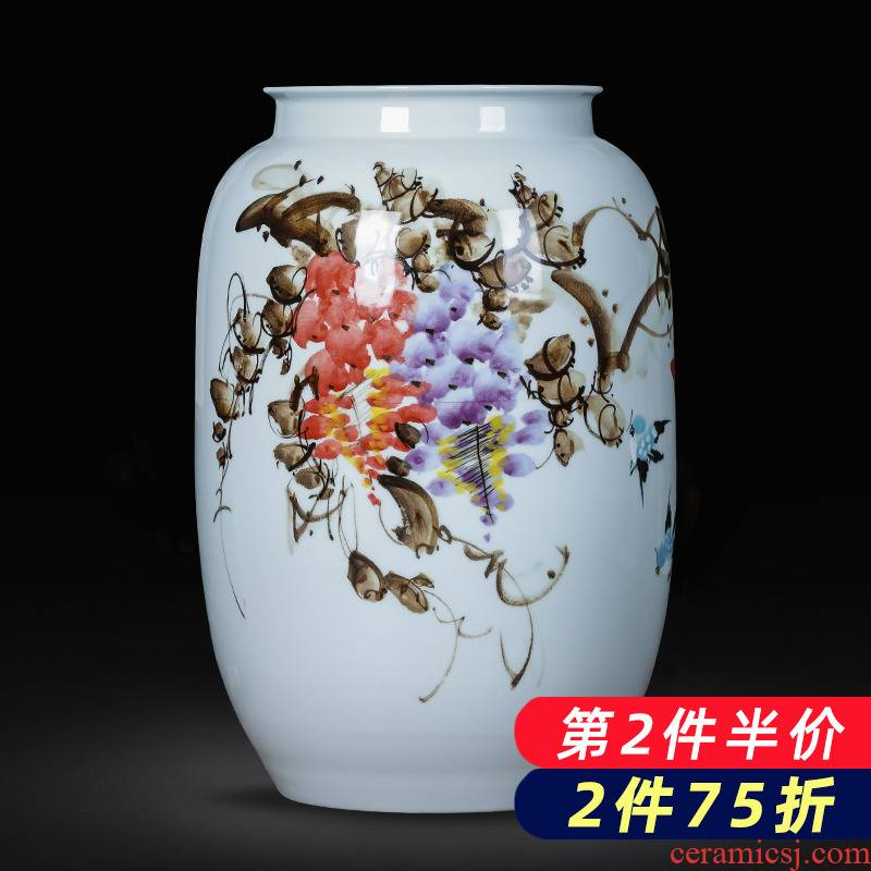 Jingdezhen porcelain ceramic up hand - made vases furnishing articles of new Chinese style household living room TV cabinet decoration decoration