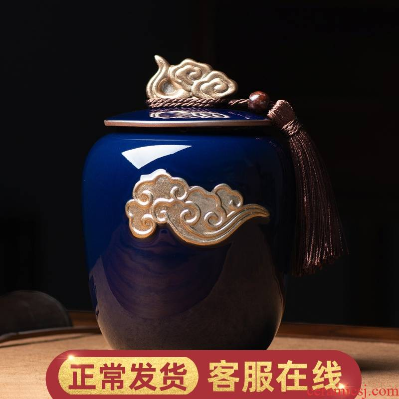 W poly real jing ji blue see save tea caddy fixings ceramic sealed as cans of large storage tank household receives tea boxes
