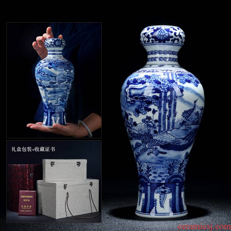 Jingdezhen porcelain hand - made ceramic vase with spring garlic furnishing articles study adornment archaize sitting room crane, deer may bottle