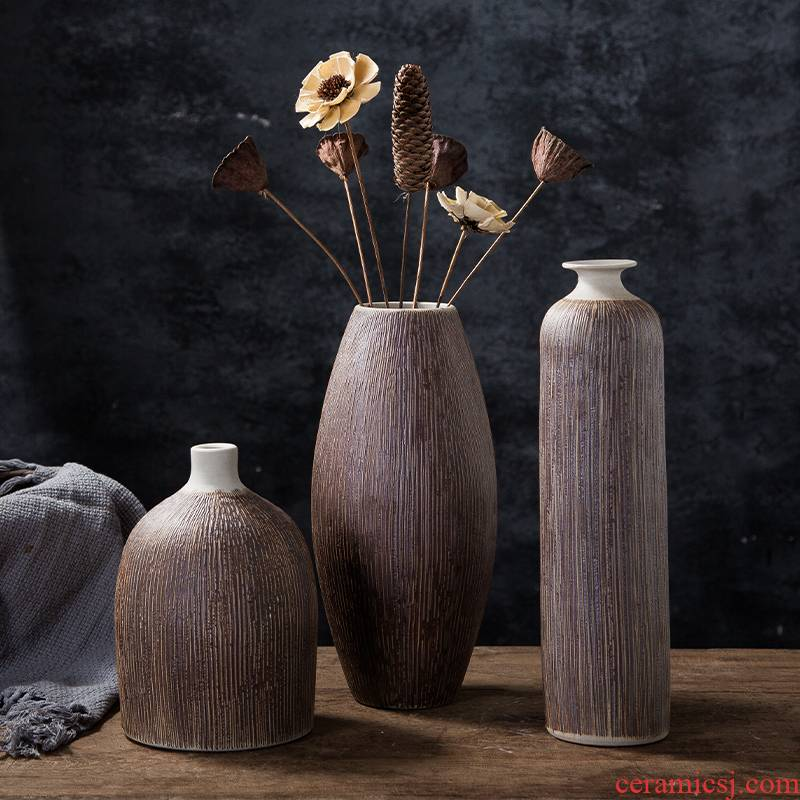 Ceramic flower implement Nordic ins floret bottle dry flower arranging flowers adornment desktop furnishing articles contracted sitting room of Chinese style of TV ark