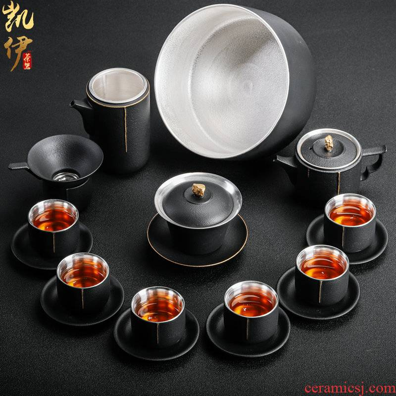 999 coppering. As silver go tea set household jingdezhen ceramic kung fu tea tea tureen teapot