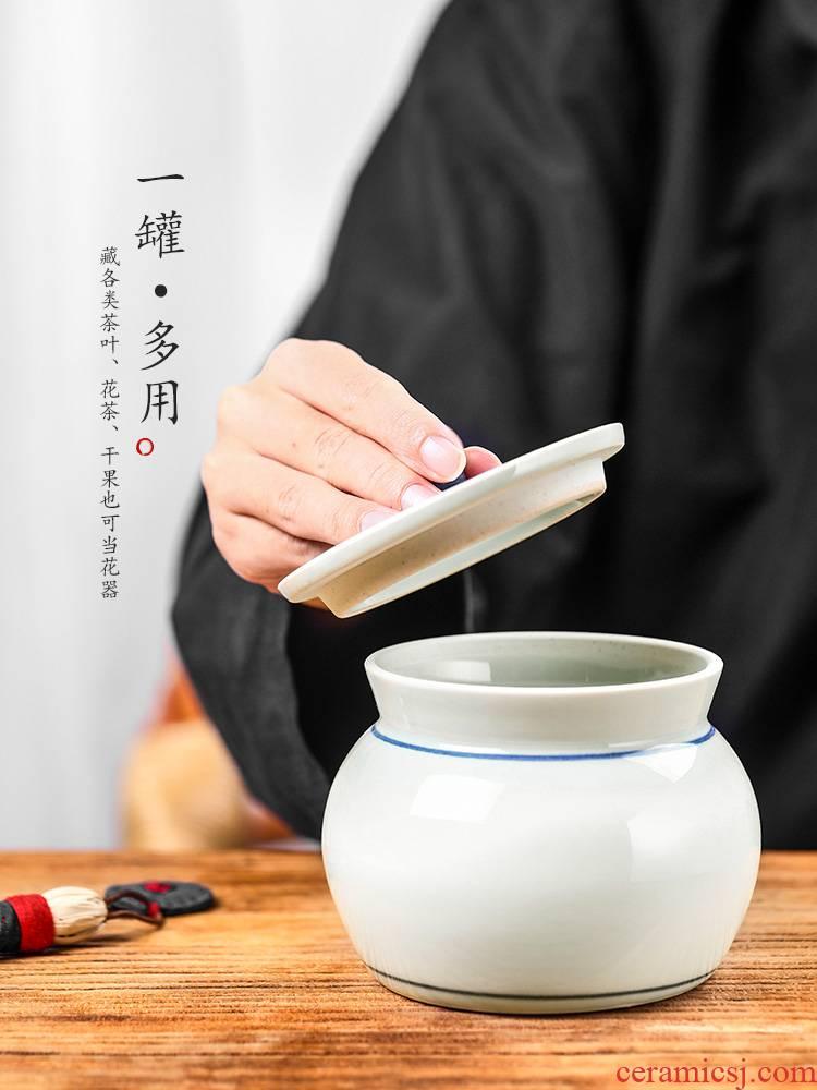 Store high - end receive a case of jingdezhen ceramic tea pu - erh tea as cans wake tea canister kung fu tea accessories