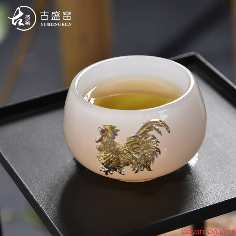 Ancient sheng up new sterling silver 99 lotus jade porcelain inlay silver master cup white porcelain of the jade sample tea cup whitebait cup single CPU