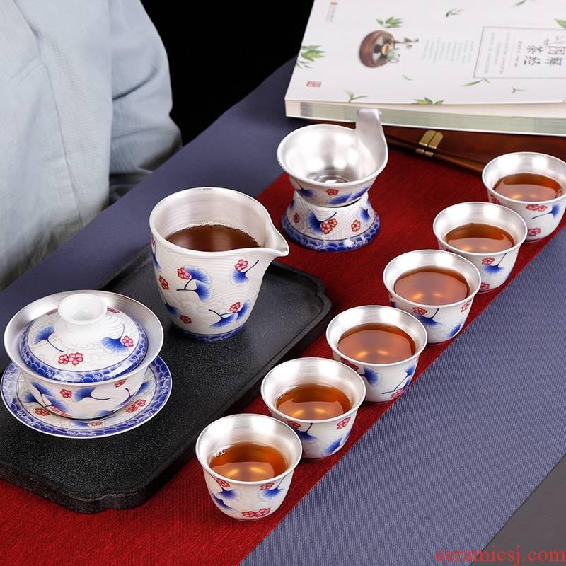 Coppering. As silver tureen of blue and white porcelain tea bowl of kung fu tea tea master cup single CPU household ceramics fair keller set