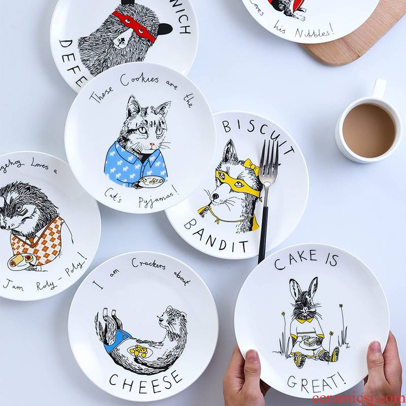 Household steak western food dish dish dish dish children 's creative move cartoon circle plate ceramic tableware fruit tray