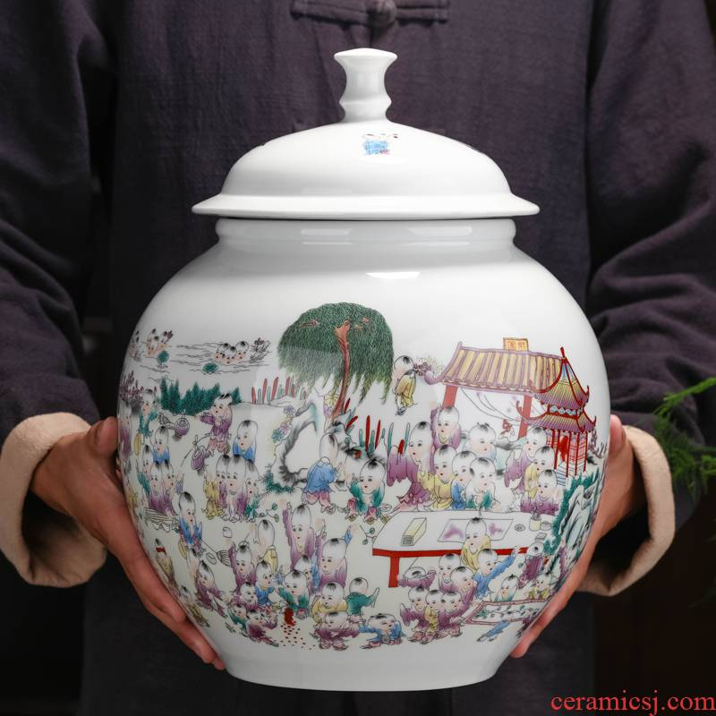 Jingdezhen ceramic caddy fixings size with cover seal storage pu 'er receives a jin of domestic large capacity