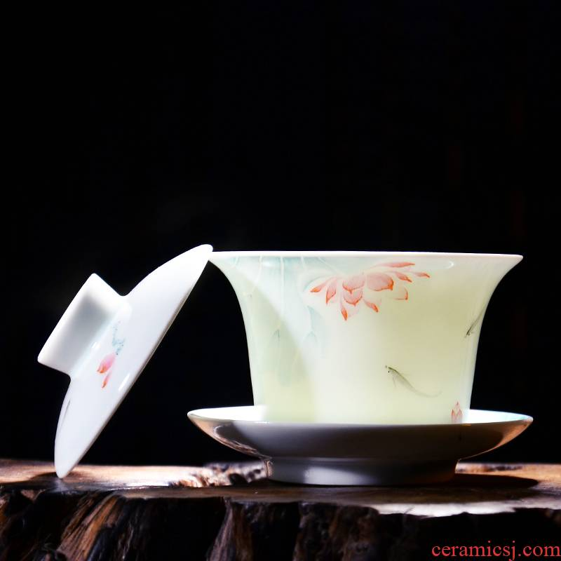 24 is jingdezhen hand - made pastel shade green ceramic tureen tea kung fu tea set three cups to use