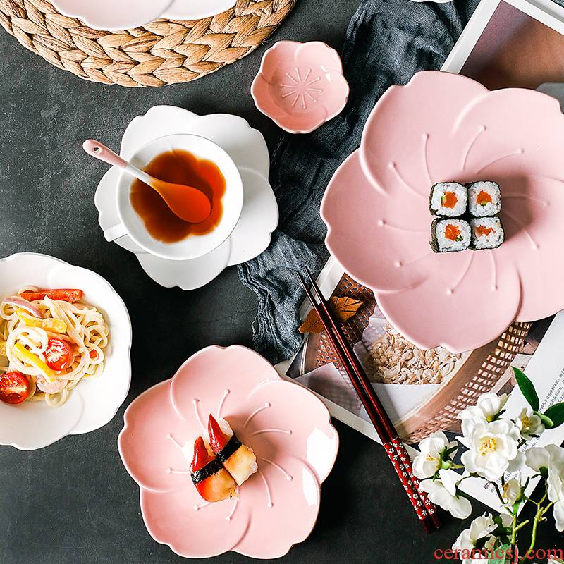 Japanese cherry blossom put ceramic dish dish creative bowl dish breakfast plate tableware suit dish fruit snack plate coffee cup
