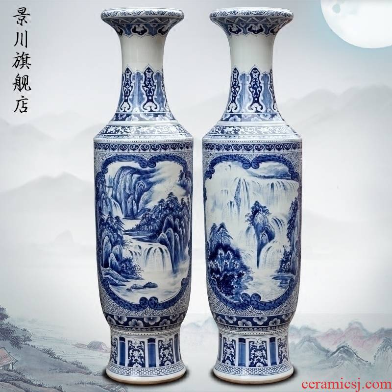 Jingdezhen blue and white porcelain painting landscape painting ceramic sitting room of large vase household furnishing articles ornaments store hall