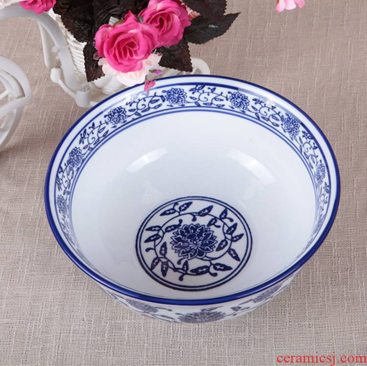 Blue and white porcelain ceramic tableware rainbow such always pull rainbow such as bowl bowl bowl of soup bowl rainbow such use ceramic bowl beef stewed noodles bowl of porridge