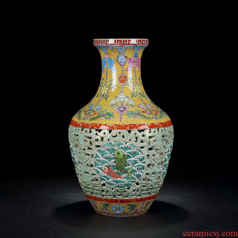 Jingdezhen vase hand - made imitation the qing qianlong colored enamel hollow - auspicious for the vase