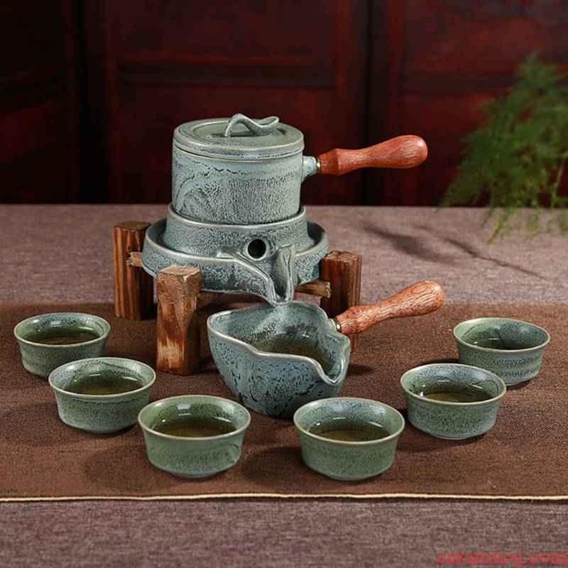 Stone mill automatic tea set high - grade ceramic up kung fu tea set to restore ancient ways to revolve tea gift box