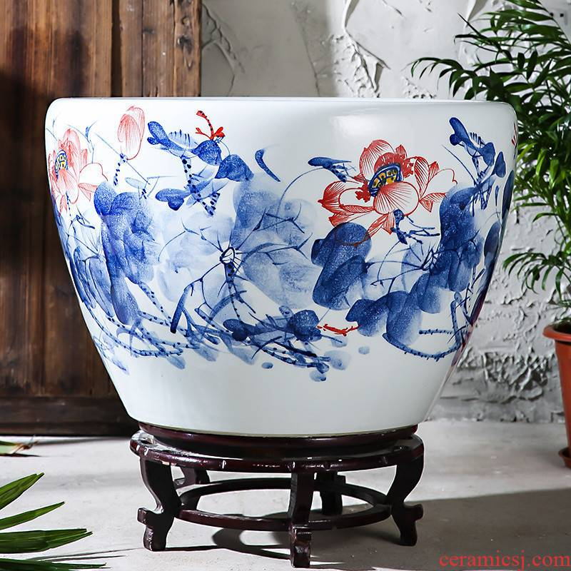 Jingdezhen ceramics turtle cylinder goldfish bowl creativity especially big trumpet aquarium water lily flower pot lotus