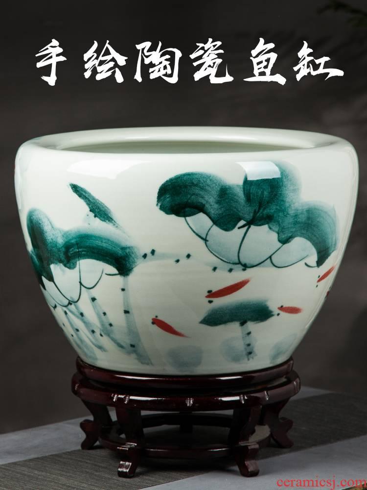 Basin of jingdezhen ceramics oversized tank lotus garden of fruit trees and potted is suing floor furnishing articles villa garden